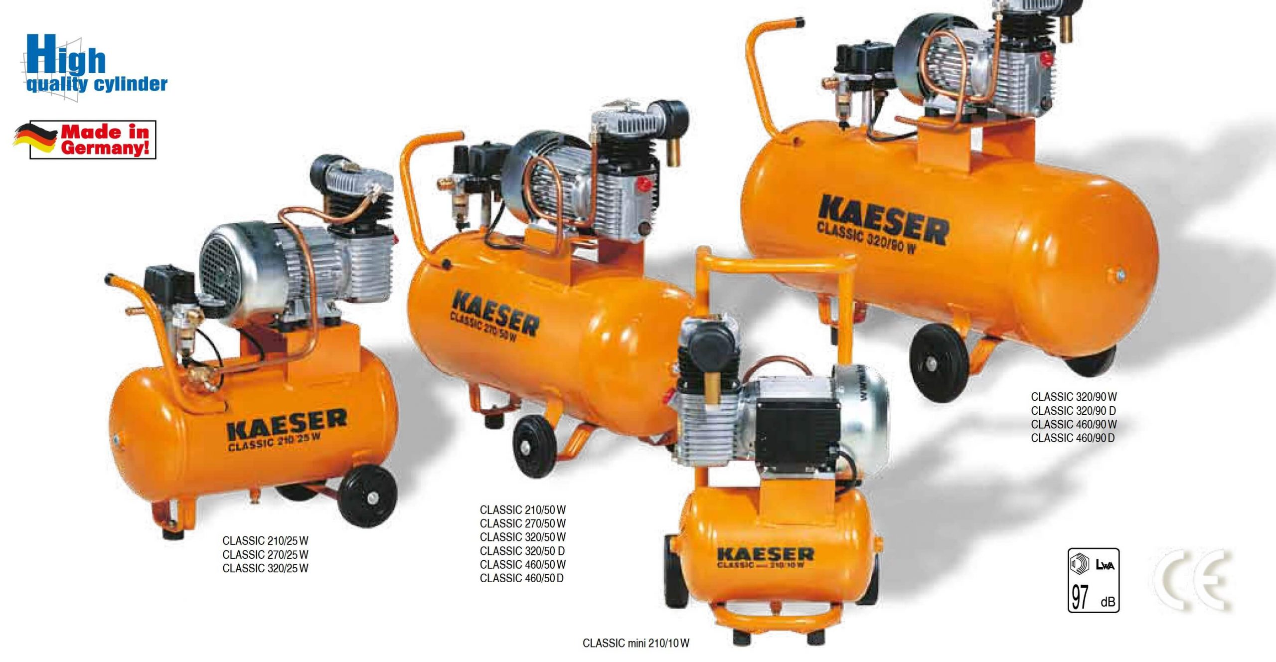 compresoare cu piston CLASSIC mini 210-10 W ÷ CLASSIC 460-90 D